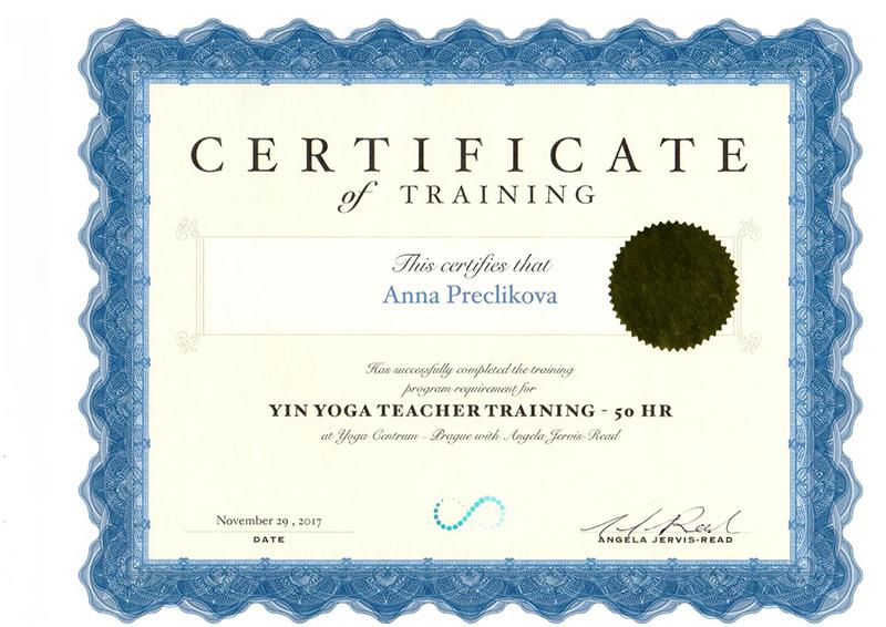 Yin jóga certifikát - Anna Preclíková